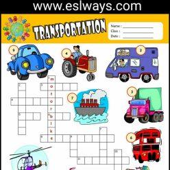 Kids Crosswords: Transportation