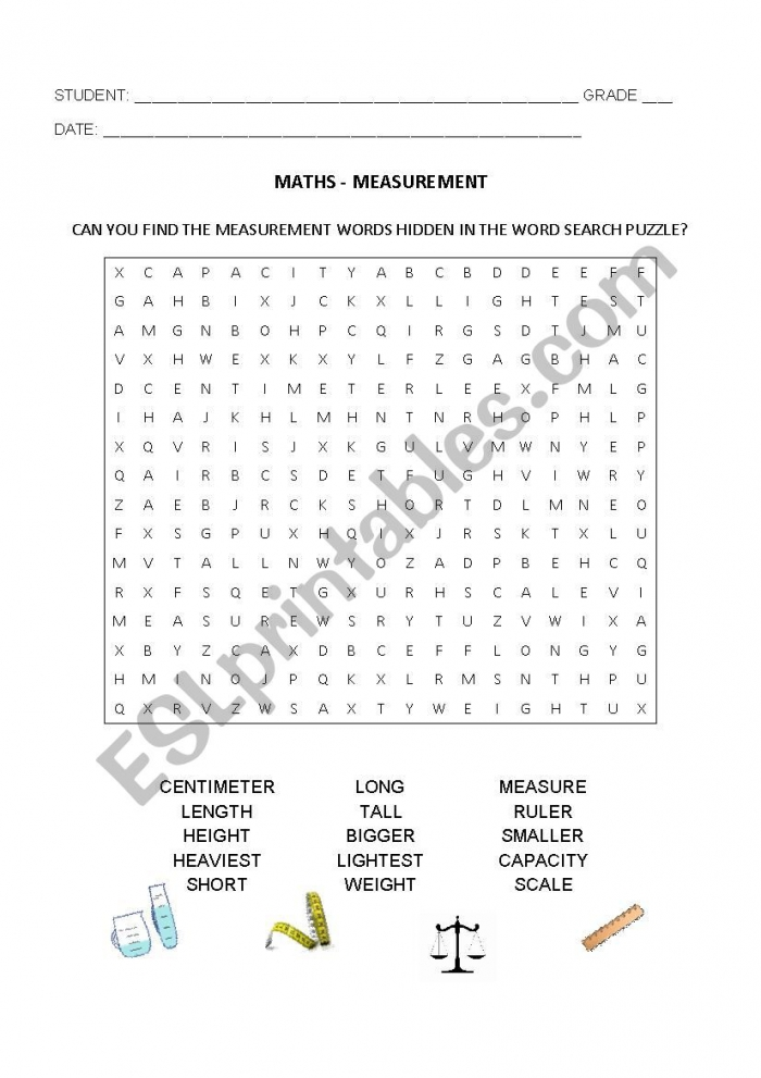 Measurement Wordsearch