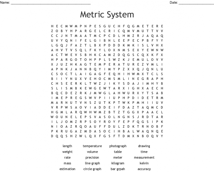 Metric System Word Search