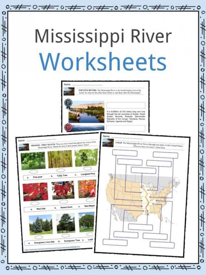 Mississippi River Facts  Worksheets  Length  Size   History For Kids