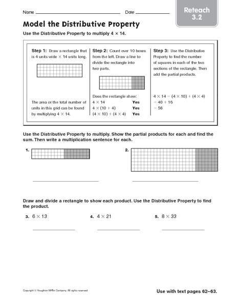 Model The Distributive Property Reteach Worksheet For Th Th
