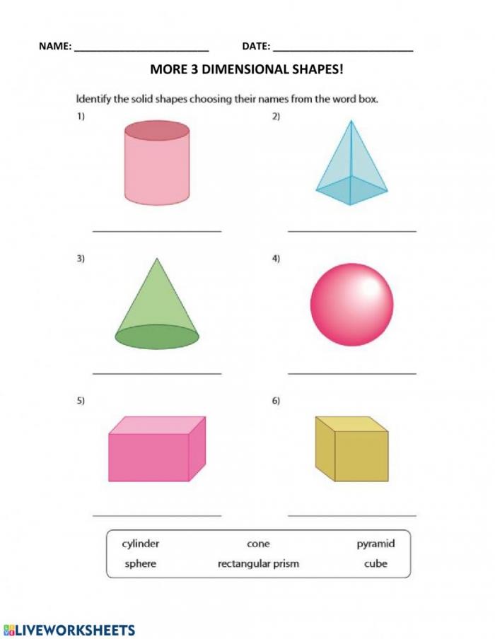 More D Shapes Worksheet