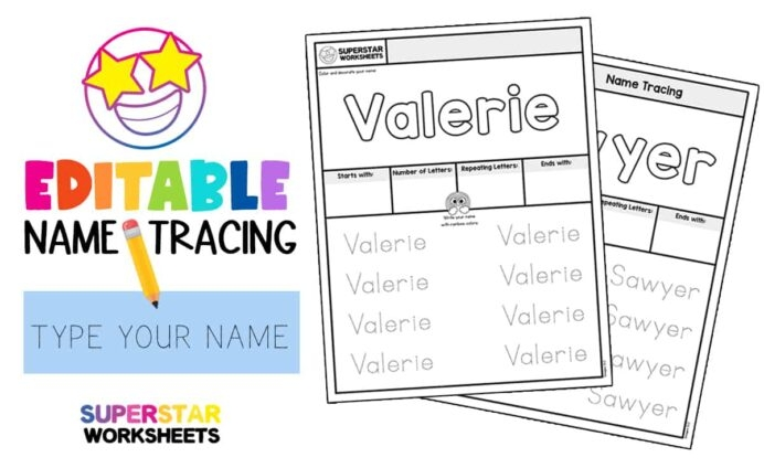 Name Tracing Worksheets Superstar Freenametracingworksheets Math