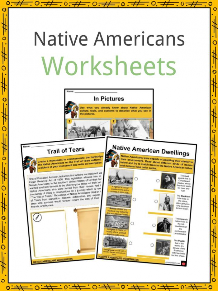 Native American History Facts  Worksheets  Way Of Life  Culture