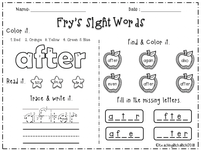 Nd  Fry Sight Words
