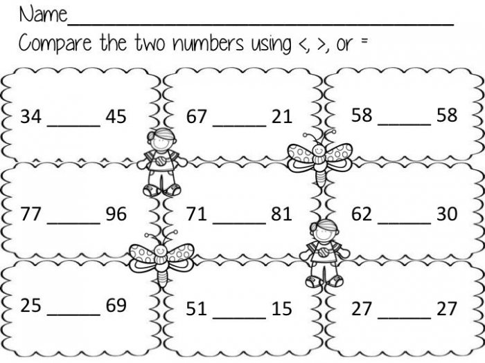 No Prep Worksheets To Practice Comparing Numbers Using Greater