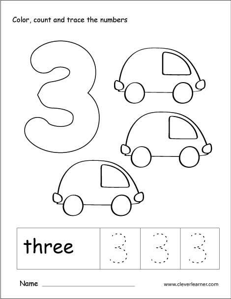 Number  Tracing And Colouring Worksheet For Kindergarten