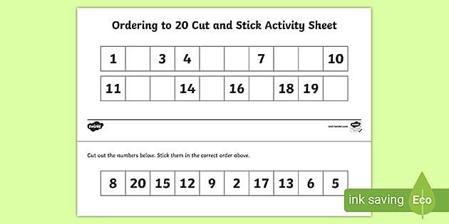 Ordering Numbers To  Worksheet Ks
