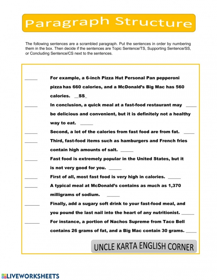 Paragraph Structure Interactive Worksheet