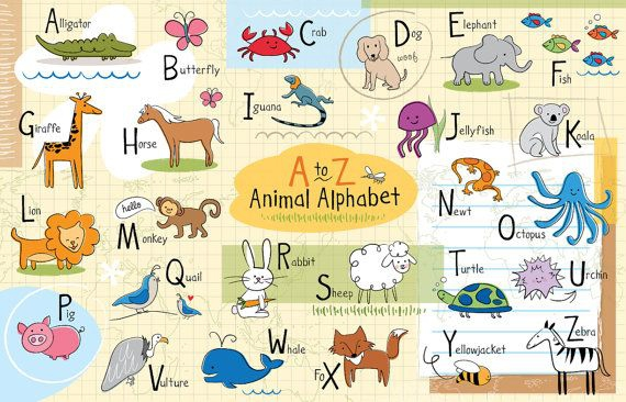 Personalized Kids Animal Alphabet Placemat