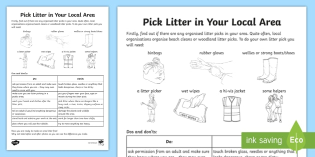 Pick Litter In Your Local Area Activity Teacher Made