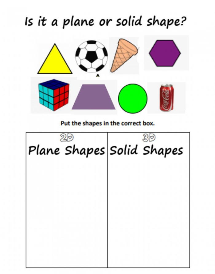 Plane And Solid Shapes Worksheet