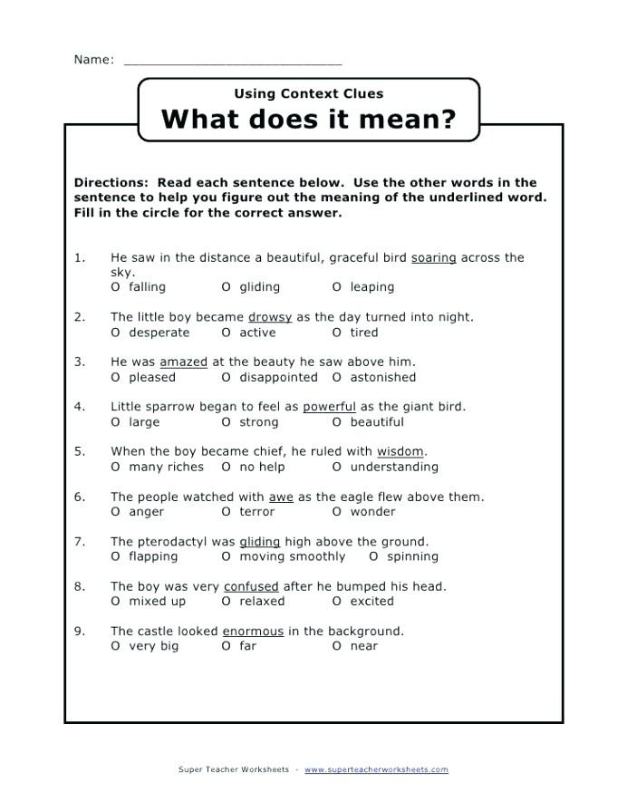 Plane Geometry Worksheets Context Clues Grade Free Math Print