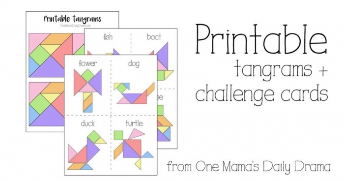 Printable Tangrams And Challenge Cards Kids Activity