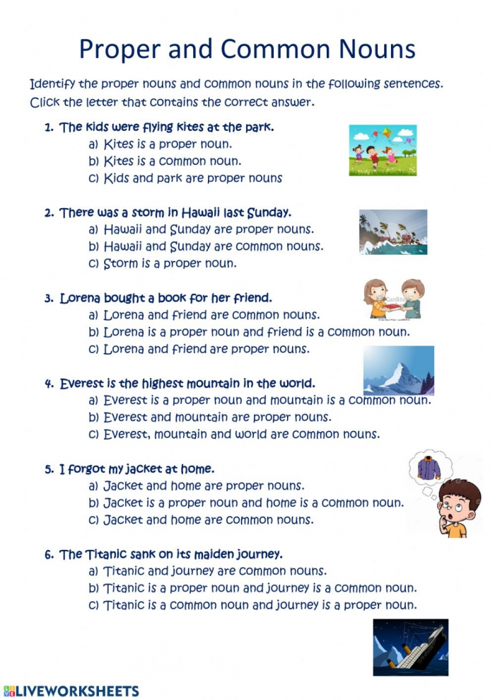 Proper And Common Nouns Interactive Worksheet
