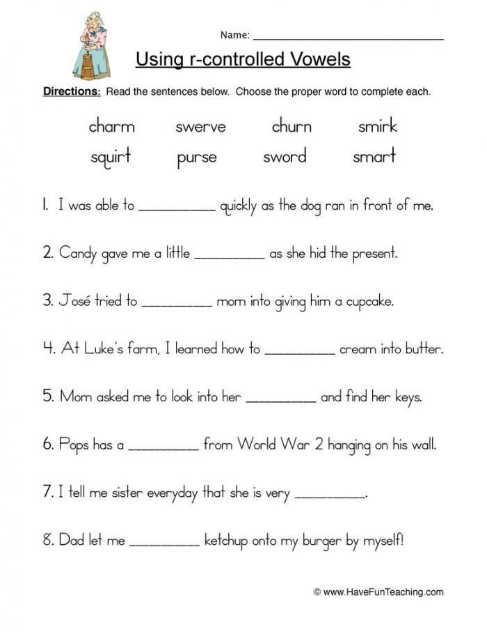 R Controlled Vowels Words Worksheet  Have Fun Teaching