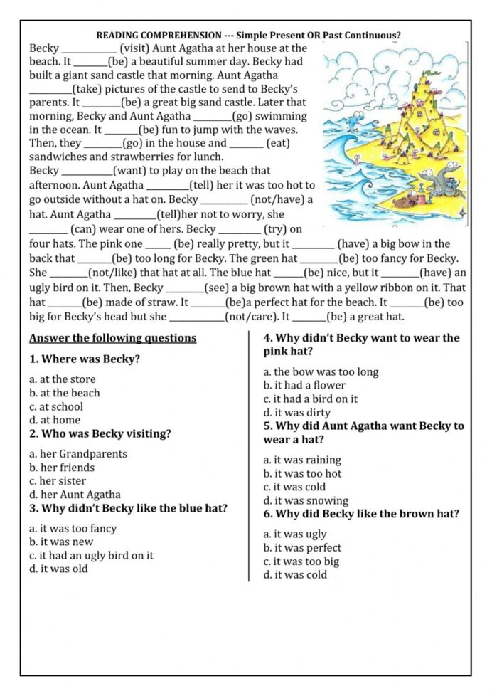 Reading Comprehension Past Continuous Worksheet Worksheets Th