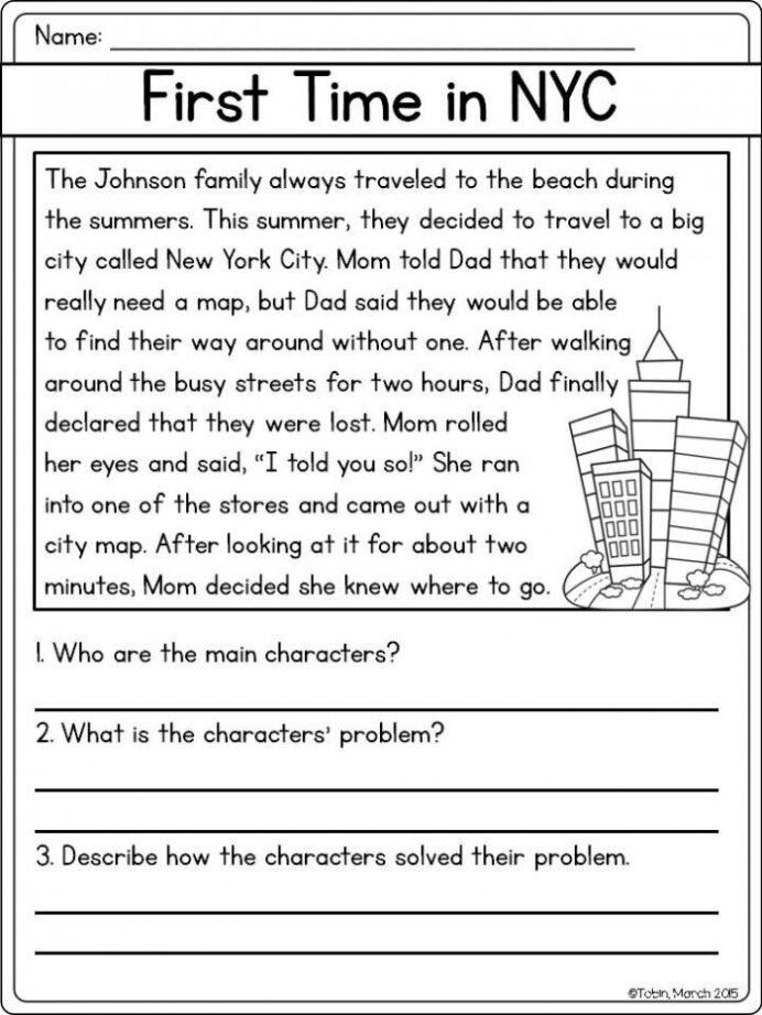 Reading Comprehension Problem And Solution Worksheets Worksheets