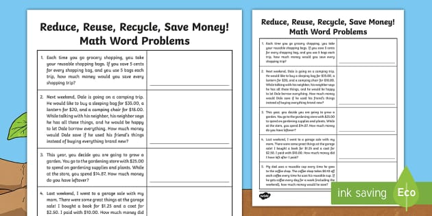 Reduce  Reuse  Recycle  Save Money Math Word Problems Activity