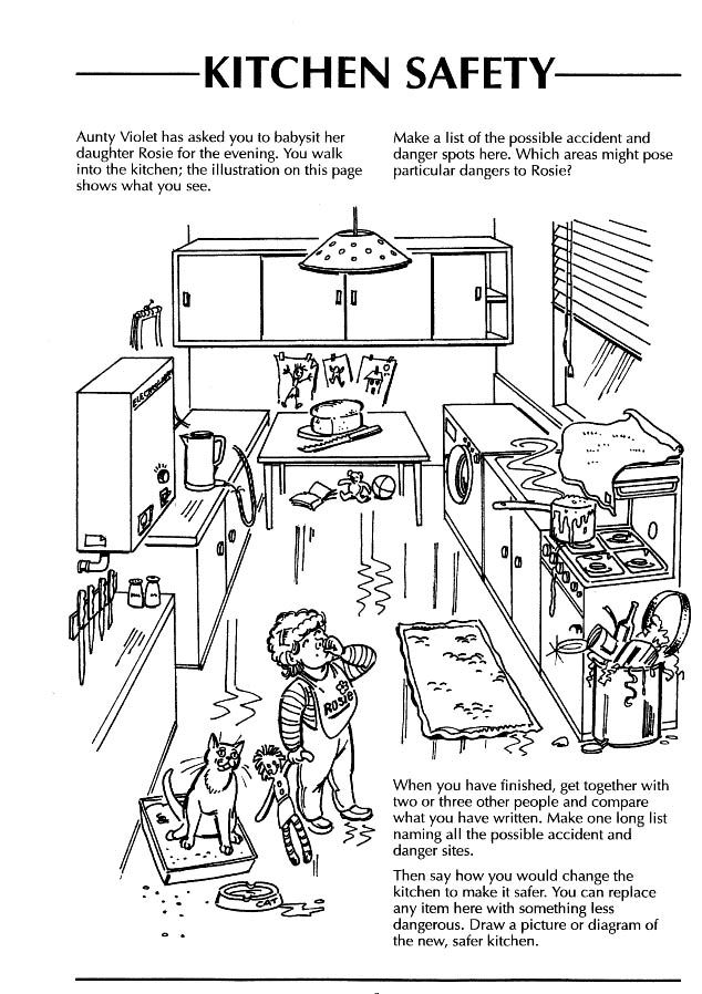 Safety In The Home Worksheets Kitchen
