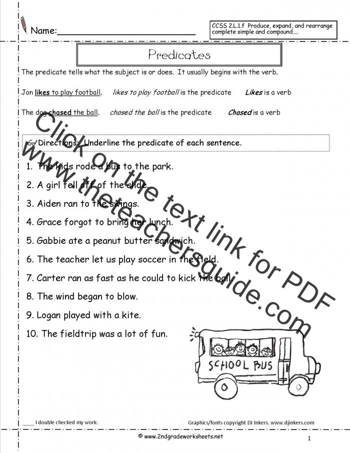 Second Grade Sentences Worksheets  Ccss Lf Worksheets