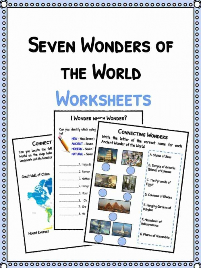 Seven Wonders Of The World Facts   Worksheets