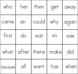 First Grade Sight Words Bingo Game #1