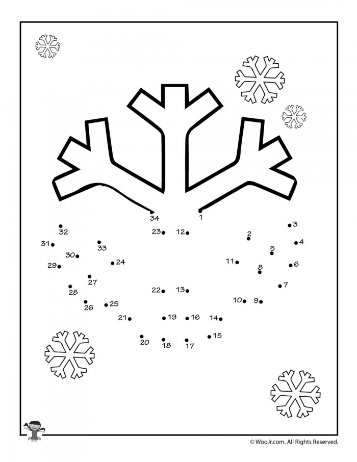 Snowflake Draw A Dot Activities