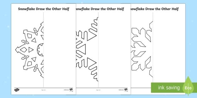Snowflake Draw The Other Half Worksheet  Worksheet
