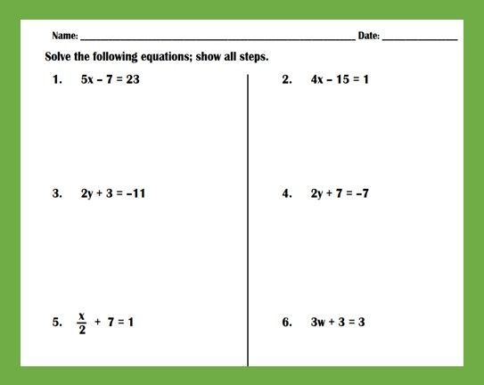 Solving Two Step Equations Practice Worksheet Literal Equations