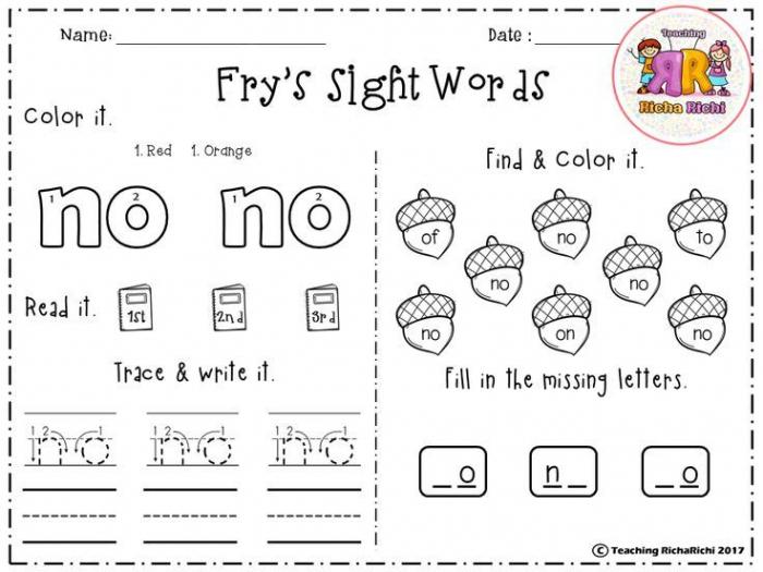 St  Fry Sight Words
