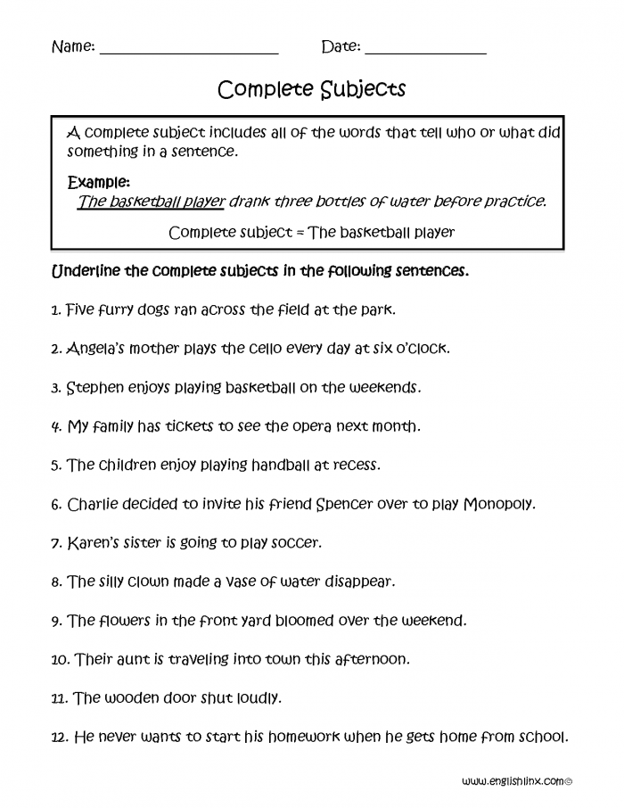 Subject And Predicate Worksheets
