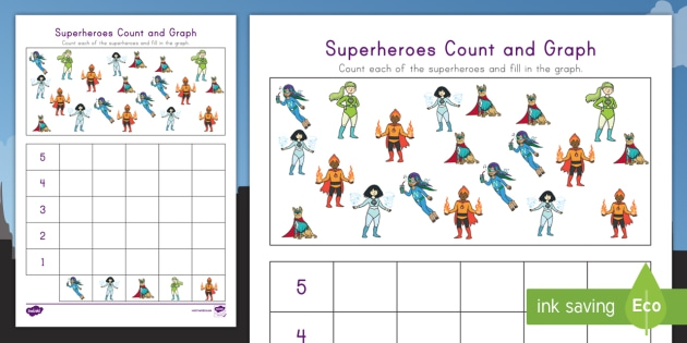 Superheroes Count And Graph Activity Teacher Made
