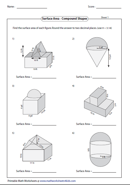 Surface Area Of Compound Shapes