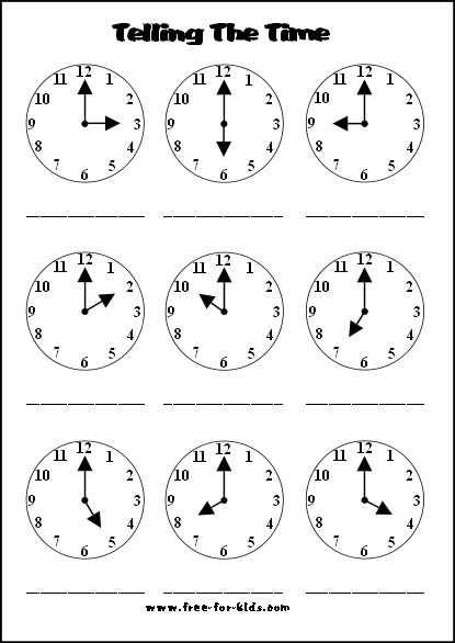 Telling The Time Worksheets