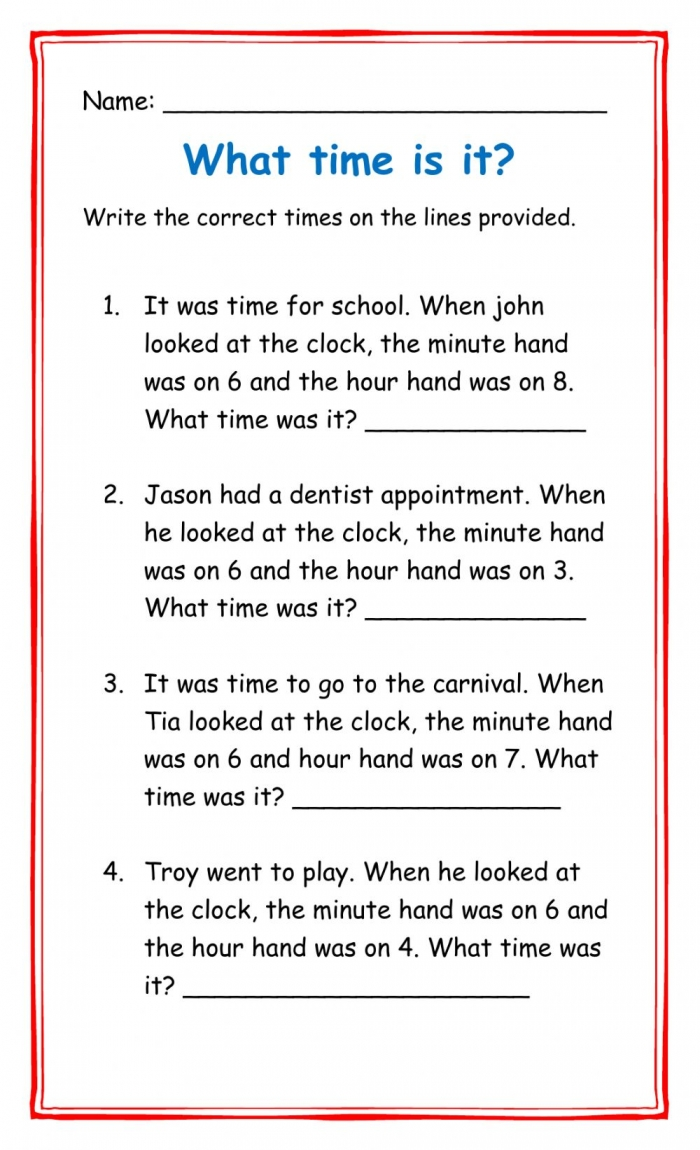 Telling Time Word Problem Interactive Worksheet