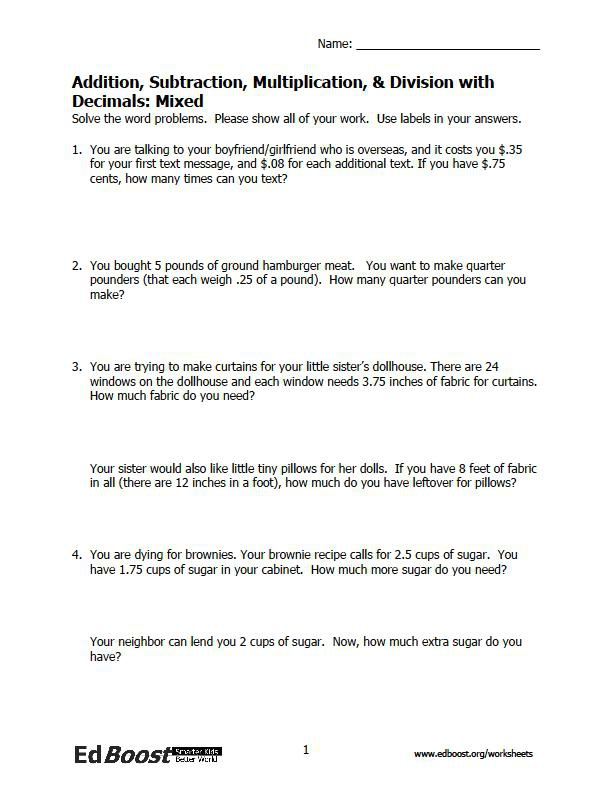 Th Grade Decimal Word Problems Worksheets Page