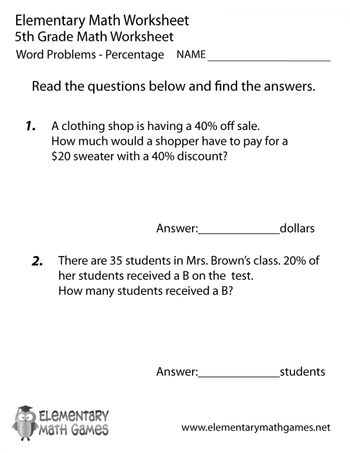 Th Grade Math Story Problems Page