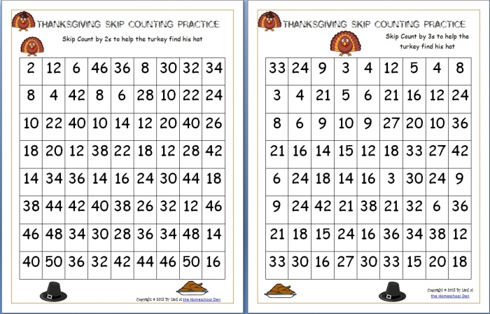 Thanksgiving Skip Counting Mazes S  S  S Free