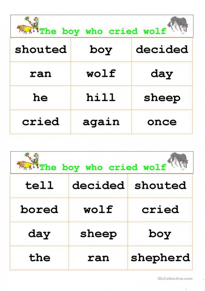 The Boy Who Cried Wolf Bingo