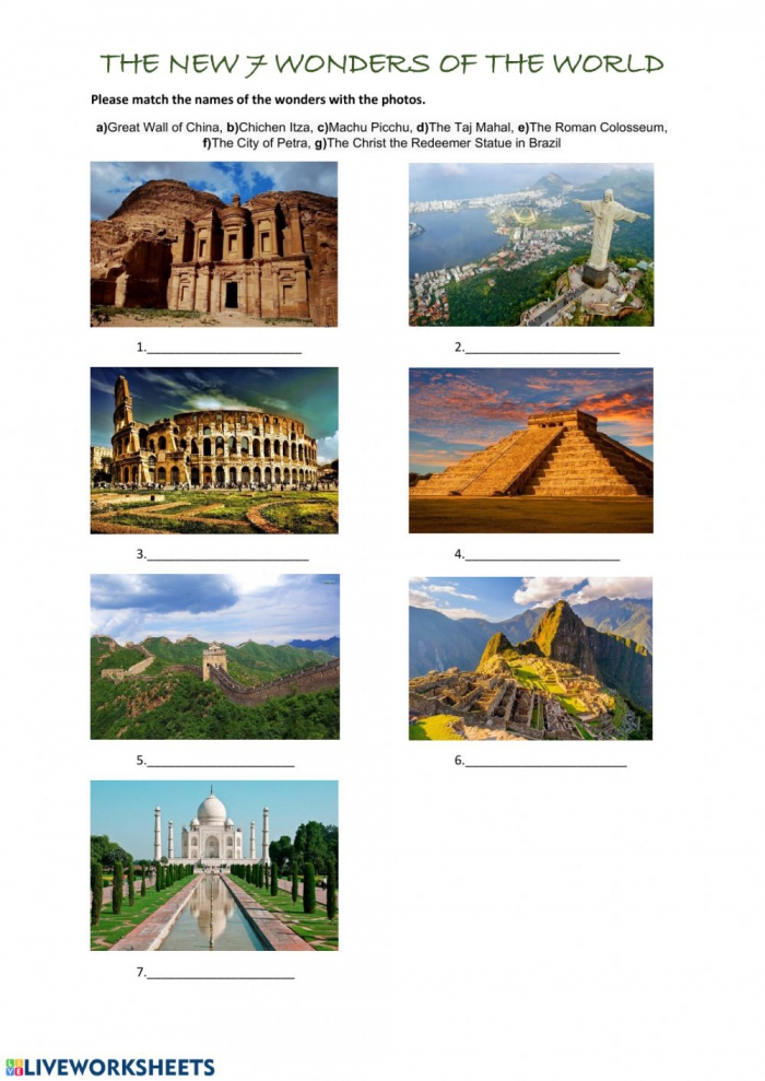 The New  Wonders Of The World Worksheet