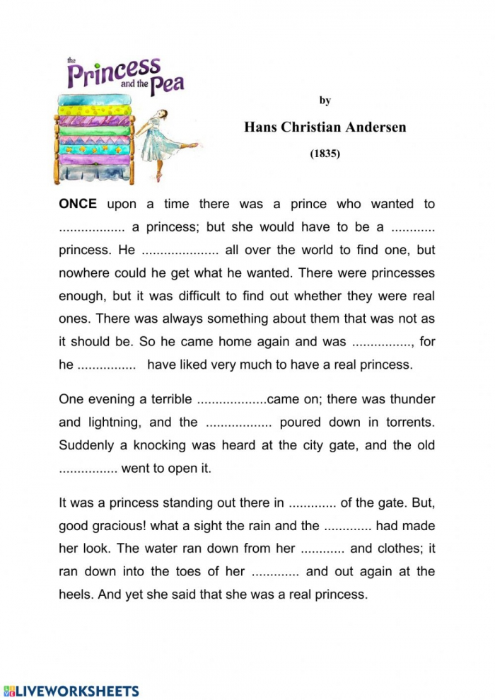 The Princess And The Pea Interactive Worksheet