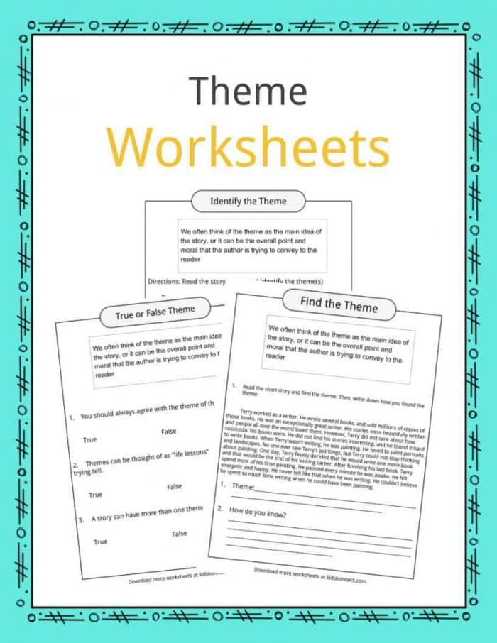 Theme Worksheets  Examples   Description For Kids