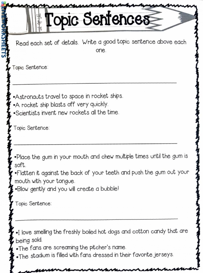 Topic Sentences Activity