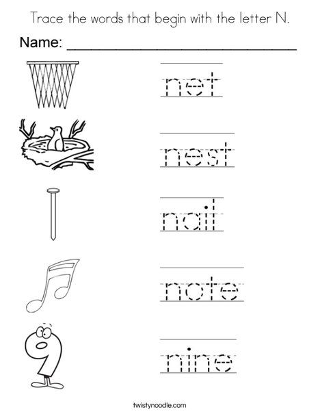 Trace The Words That Begin With The Letter N Coloring Page