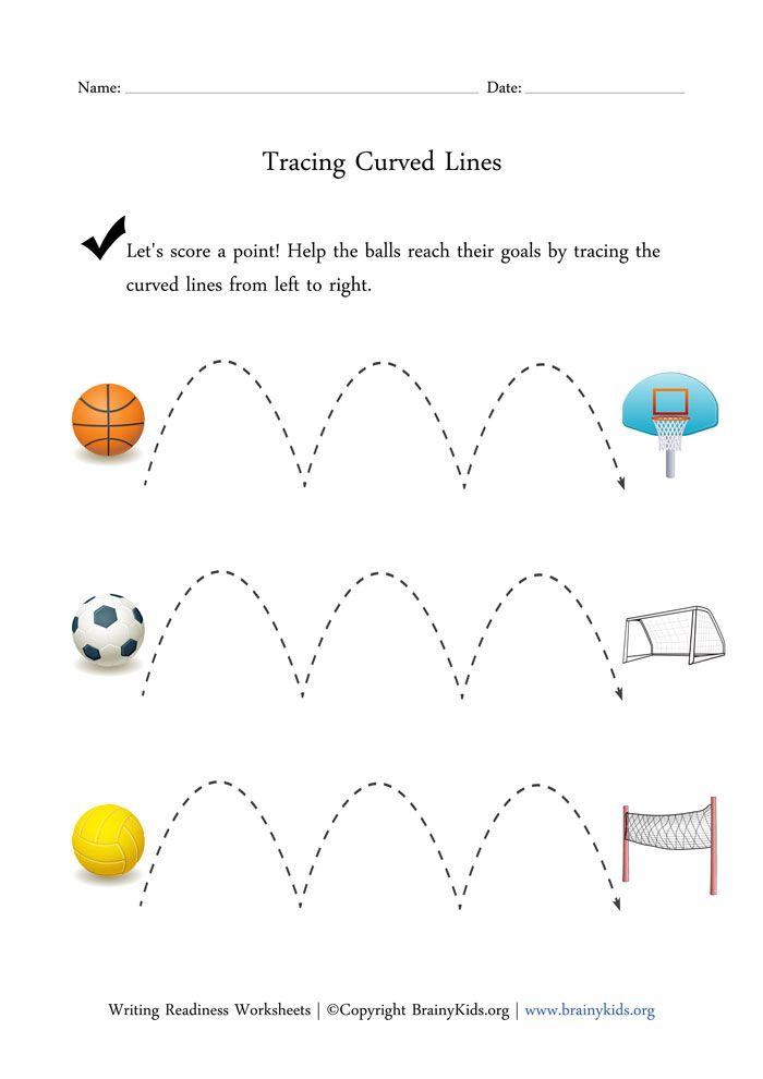 Tracingrves Worksheetsrved Lines Printable Worksheet For Preschool