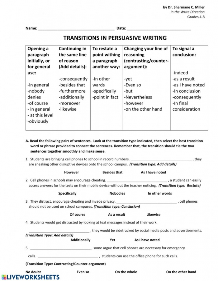 Transitional Words And Phrases Worksheet
