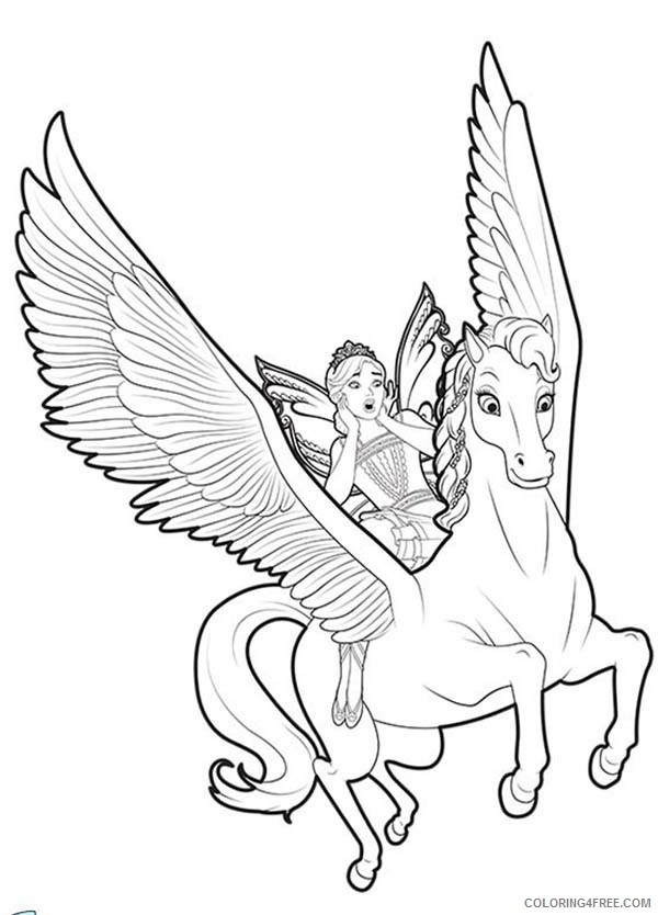Unicorn Coloring Pages Flying With Fairy Coloringfree