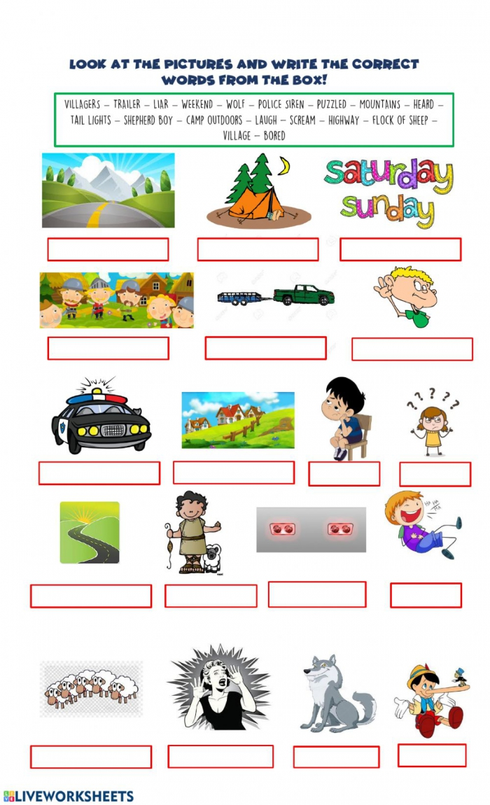 Vocabulary Aunt Julie  The Boy Who Cried Wolf Worksheet
