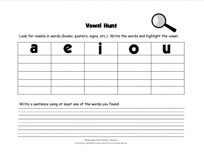 Vowel Hunt Game Kids Have Fun Finding Words With Short Vowel